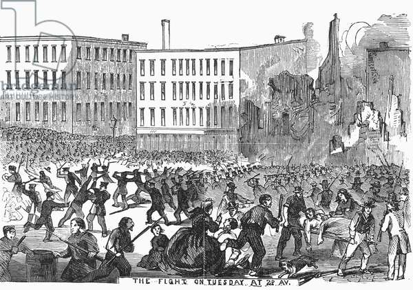 CIVIL WAR: DRAFT RIOTS An unruly mob during the New York City Draft Riots of July 13-16, 1863. Wood engraving from a contemporary American newspaper.