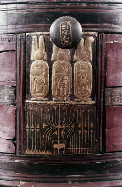 TOMB OF KING TUTANKHAMEN Detail from a chest with the names of Tutankhamen and his queen, Ankhesenamun, c.1342.