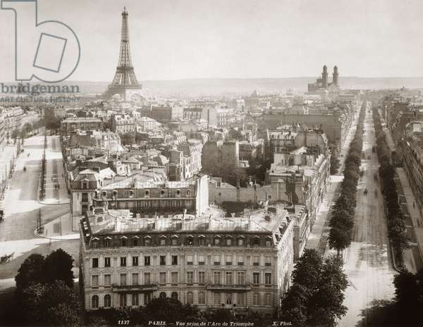 PARIS: AERIAL VIEW, 1900 View of Paris form l'Arc de Triomphe, c.1900. On th left Avenue Marceau runs towards the Eiffel Tower. On the right Avenue Kleber leads to Trocadero.