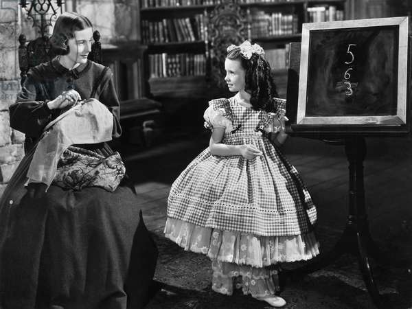 FILMS: JANE EYRE, 1944 Joan Fontaine and Margaret O'Brien in a scene from the 1944 film production of 'Jane Eyre.'