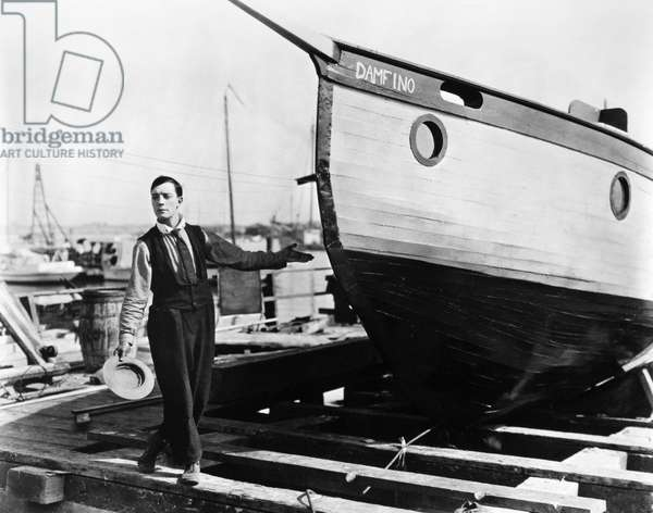 BUSTER KEATON (1896-1966) American comedian. In the film 'The Boat,' 1922.