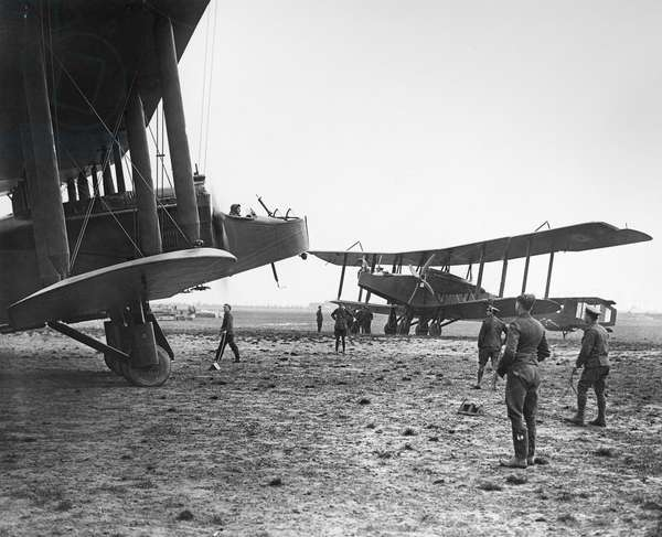 HANDLEY PAGE BIPLANES British Handley Page Type O/400 biplane bombers used during World War I. Photograph, c.1916.