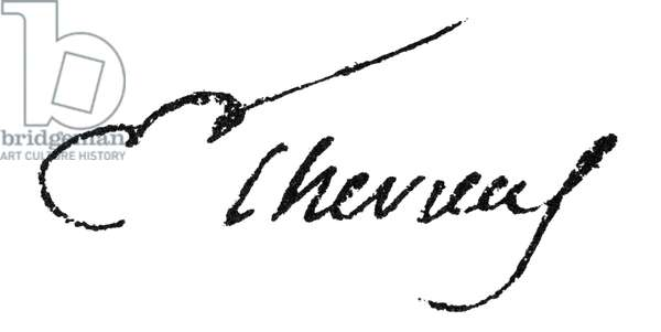MICHEL EUGENE CHEVREUL (1786-1889). French chemist. Autograph signature.