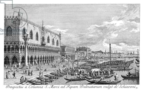 VENICE: THE MOLO, 1735 The Molo in Venice, Italy, looking west, Column of St. Theodore on the right. Engraving, 1735, by Antonio Visentini after Canaletto.