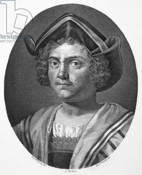 CHRISTOPHER COLUMBUS (1451-1506). Italian navigator. Steel engraving, Italian, 1812, after an engraving by Theodor de Bry, c.1590.