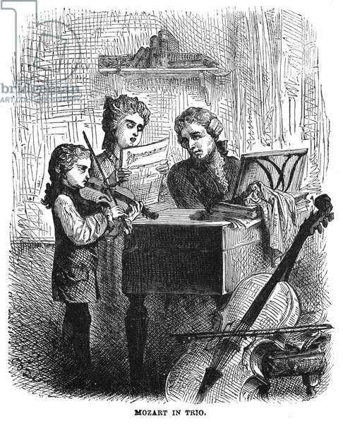 WOLFGANG AMADEUS MOZART (1756-1791). Mozart in Trio. Austrian composer. Wood engraving, 1877.