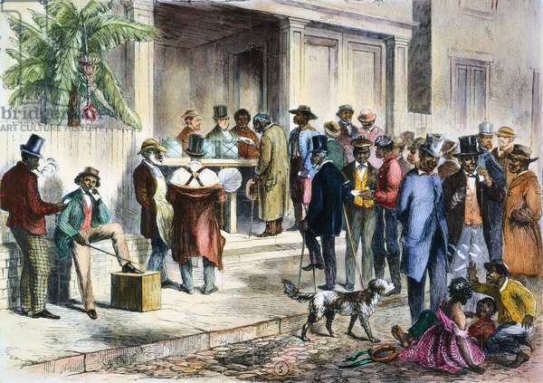 NEW ORLEANS: VOTING, 1867 Freedmen voting in New Orleans in 1867. Wood contemporary engraving.