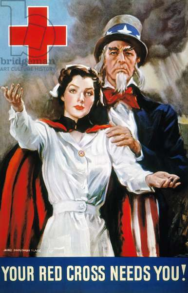 WORLD WAR II: RED CROSS 'Your Red Cross Needs You.' American World War II poster by James Montgomery Flagg, 1942.