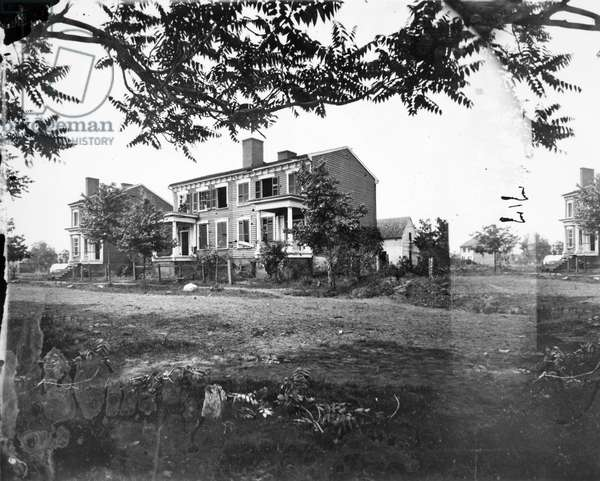 CIVIL WAR: FREDERICKSBURG Houses damaged in Fredericksburg, Virginia, by shelling during the American Civil War, 13 December 1862. Photographed May 1864.