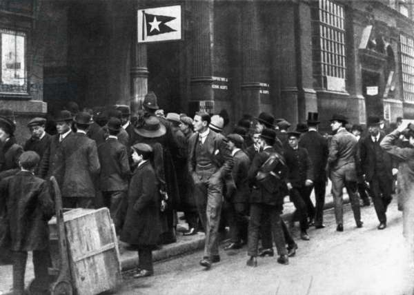 TITANIC: WHITE STAR LINE A crowd gathers at the office of White Star Line in London on April 16, 1912, after news of the Titanic sinking.