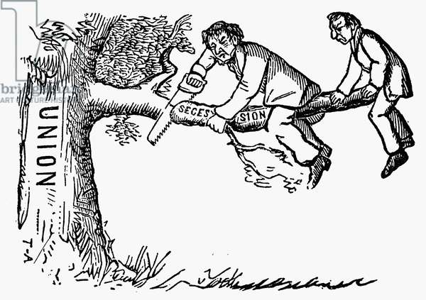 CARTOON: SECESSION, 1861 Secessionists leaving the Union. American cartoon, c.1861, published before the outbreak of the Civil War.