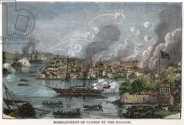 FIRST OPIUM WAR, 1841 The bombardment of Canton, China, by the British fleet in 1841 during the First Opium War. Wood engraving, 19th century.