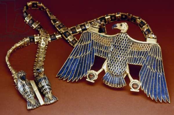 TOMB OF KING TUTANKHAMEN Gold necklace with vulture pendant from the Tomb of Tutankhamen, c.1342 B.C.