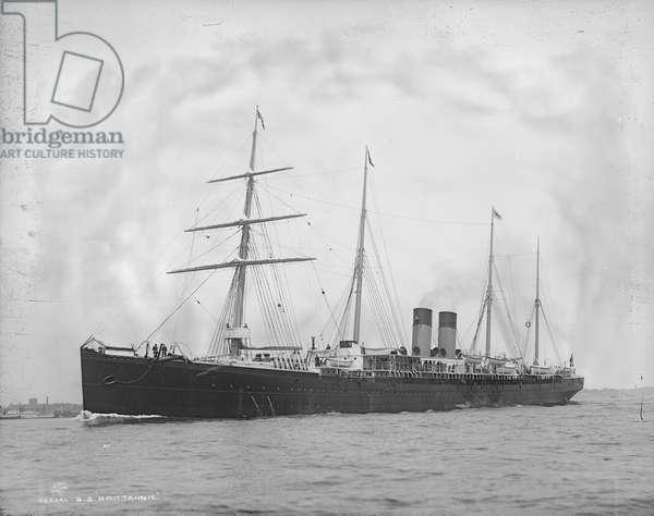 S.S. BRITANNIC, c.1896 The White Star Line's passenger ship, 'S.S. Britanic.' Photograph by John S. Johnston, c.1896.