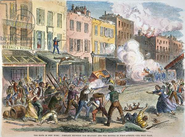 NEW YORK: DRAFT RIOTS 1863 First Avenue under siege during the New York City Draft Riots of 13-16 July 1863: engraving from a contemporary newspaper account.