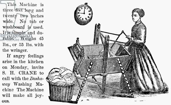 WASHING MACHINE, c.1880 American merchant's trade card, c.1880, for the Dashaway Washing Machine.
