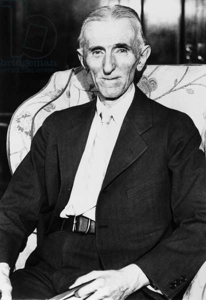 NIKOLA TESLA (1856-1943) American electrician, physicist, and inventor. Born in Croatia, of Serbian parents. Photographed in his suite at the Hotel New Yorker in New York City, 1935.
