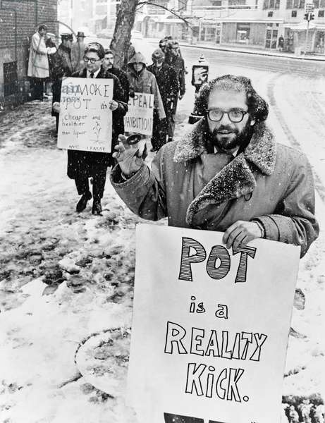 ALLEN GINSBERG (1926-1997) American author and poet. Photographed leading a demonstration outside of the Women's House of Detention on Greenwich Avenue in New York City, demanding the release of prisoners arrested for possession of marijuana, January 1965.