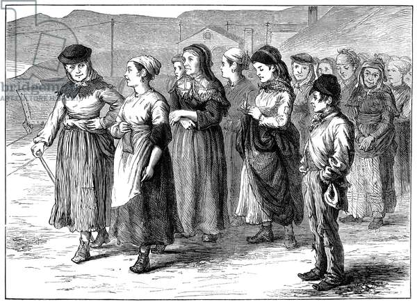 COAL MINERS' STRIKE, 1873 'The strike in South Wales: Tip girls leaving the Dowlais Works.' The coal miners' strike at South Wales in 1873. Contemporary English wood engraving.