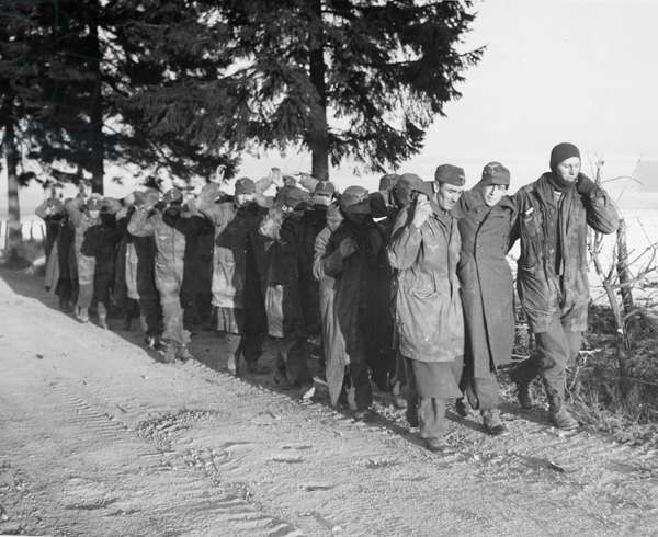 WORLD WAR II: PRISONERS German prisoners captured by Allied forces in Belgium during the Ardennes Offensive. Photographed 3 January 1945.