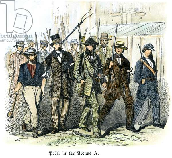 CIVIL WAR: DRAFT RIOTS Armed draft rioters on Avenue A during the New York City Draft Riots of July 13-16, 1863: contemporary wood engraving.