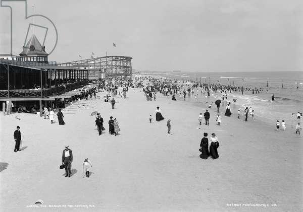 NEW YORK: ROCKAWAY, c.1904 The beach at Rockaway, New York. Photograph, c.1904.