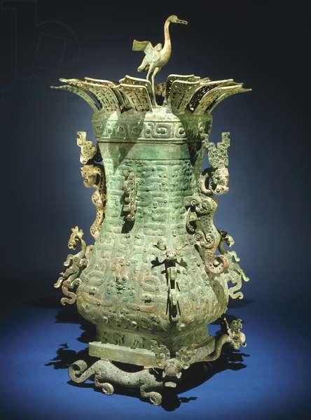CHINA: BRONZE PITCHER Bronze 'hu' vessel. Eastern Zhou, late 7th-6th century B.C.