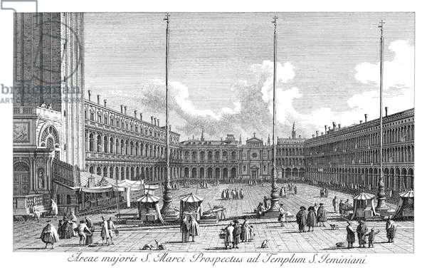 VENICE: PIAZZA SAN MARCO Piazza San Marco in Venice, Italy, looking towards the church of S. Geminiano, since demolished. Engraving, 1735, by Antonio Visentini after Canaletto