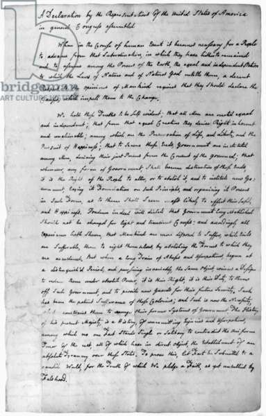 DECLARATION OF INDEPENDENCE The first page of John Adams' copy of the Declaration of Independence, in his own handwriting, June 1776.