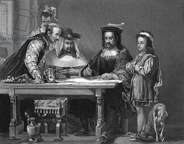 CHRISTOPHER COLUMBUS (1451-1509). Italian navigator. Columbus explaining his planned voyage in search of a sea route to Asia while staying at the monastery of La Rabida, 1490. Engraving, 19th century, after a painting, 1834, by Sir David Wilkie.