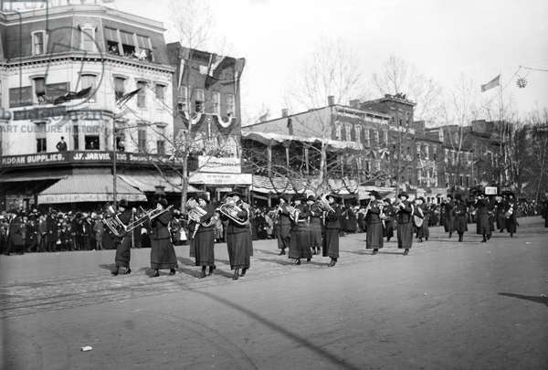 SUFFRAGE PARADE, 1913 Marching band at the women's suffrage parade held in Washington, D.C., 3 March 1913.