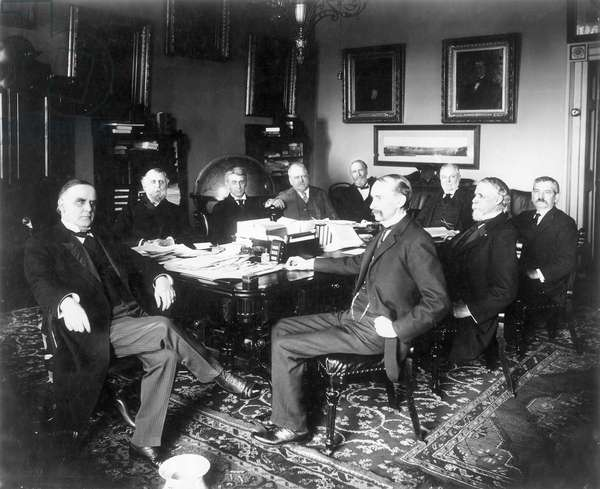 McKINLEY & CABINET, 1898 President William McKinley with his cabinet. Photographed in the White House, May 1898.
