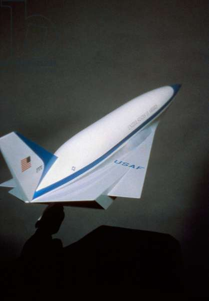 AERO-SPACE PLANE, c.1985 Model of an Aero-Space Plane designed to take off and go into orbit without any jettisoning hardware, developed by NASA and the U.S. Air Force, c.1985.