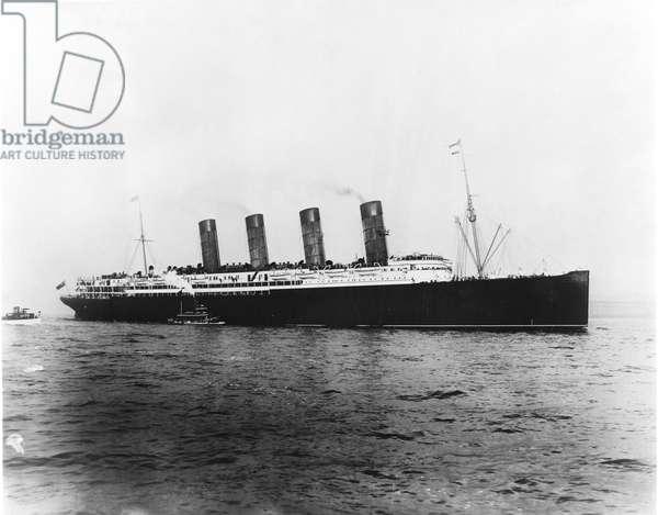 WORLD WAR I: LUSITANIA The Cunard steamship 'Lusitania' in 1907.