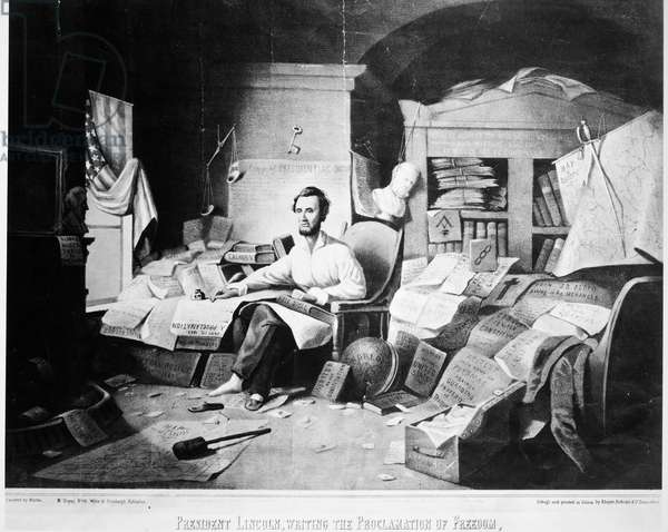 EMACIPATION PROCLAMATION President Abraham Lincoln (1809-1865) writing the Emancipation Proclamation, issued on 1 January 1863. Lithograph, American, 1864.