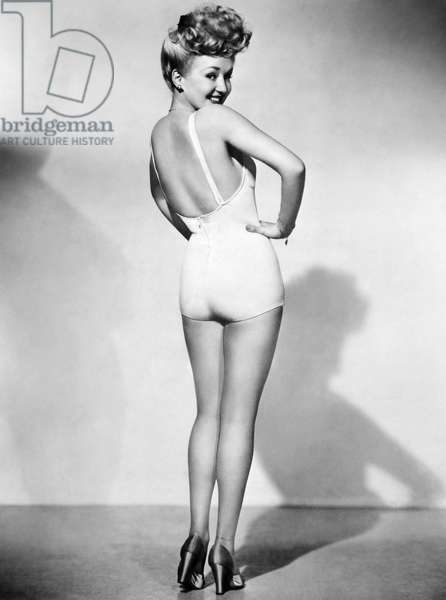 BETTY GRABLE (1916-1973) American actress. The most popular pin-up photograph of the American armed forces during World War II.