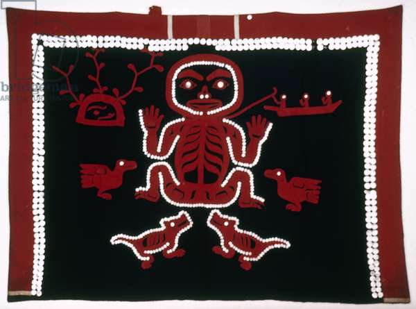 ALASKA: TLINGIT BLANKET Blanket with sewn on buttons in the shape of a bear, made by the Tlingit tribe in Alaska.