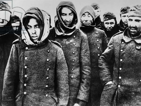 SOVIET UNION: STALINGRAD German soldiers at Stalingrad, Soviet Union, after surrendering to Russian forces during World War II. Photographed January/February 1943.
