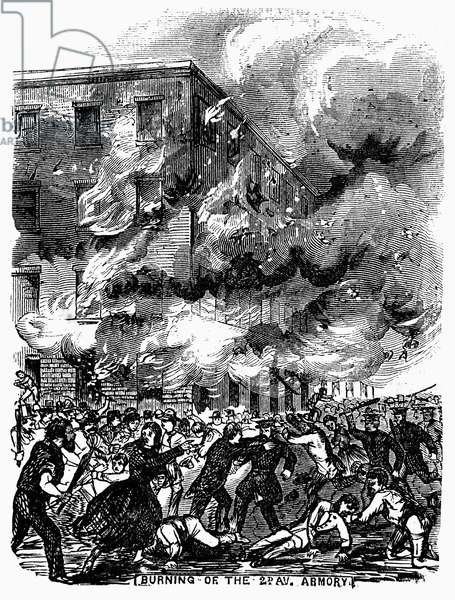 CIVIL WAR: DRAFT RIOTS Burning of the 2nd Avenue Armory during the New York City Draft Riots of July 13-16, 1863. Wood engraving from a contemporary American newspaper.