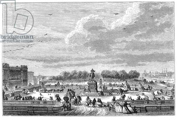 PLACE LOUIS XV, 1763 The Place Louis XV in Paris, France, as it was in 1763. Designed by Ange-Jacques Gabriel in 1755. Engraving, after an etching by Jean-Michel Moreau.