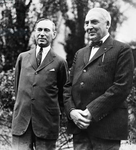 WARREN G. HARDING, c.1921 29th President of the United States. At the White House, c.1922, with the philanthropist Albert D. Lasker (1880-1952).