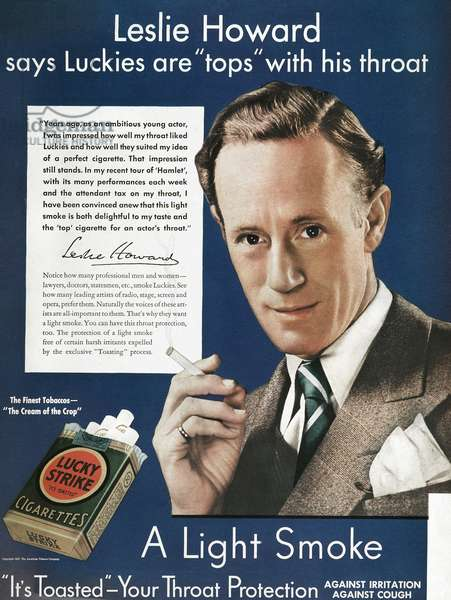 LUCKY STRIKE CIGARETTE AD Actor Leslie Howard endorsing Lucky Strike cigarettes. American magazine advertisement, 1937.