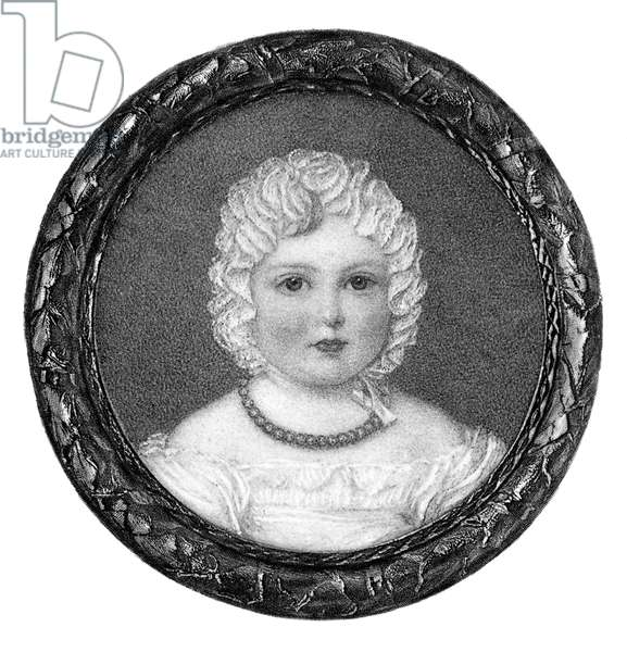 VICTORIA (1819-1901) Queen of Great Britain, 1837-1901. Miniature of the future queen at age two.