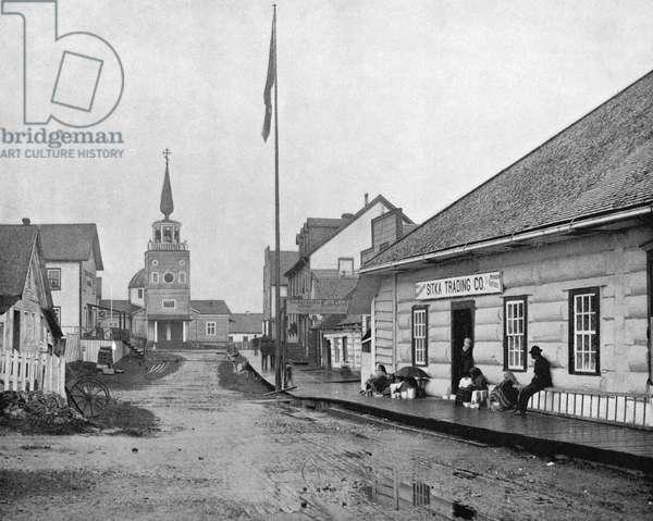 ALASKA: SITKA, c.1890 A street in Sitka, Alaska. Photograph, c.1890.