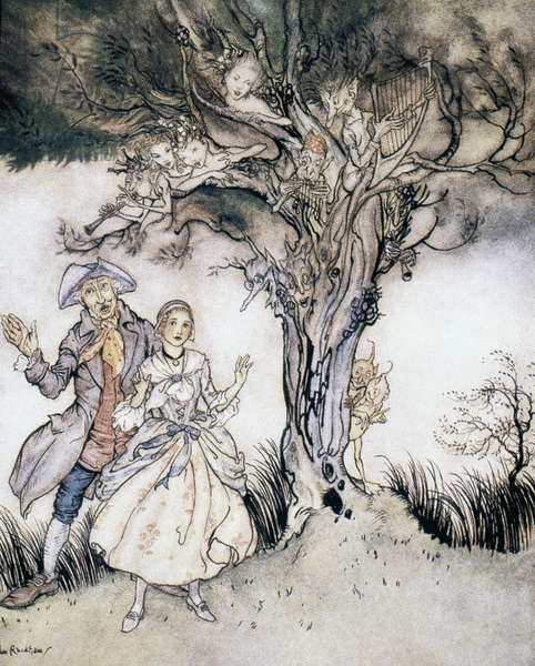 Ichabod Crane and Katrina, illustration from 'The Legend of Sleepy Hollow,' by Washington Irving, 1928 (colour litho)