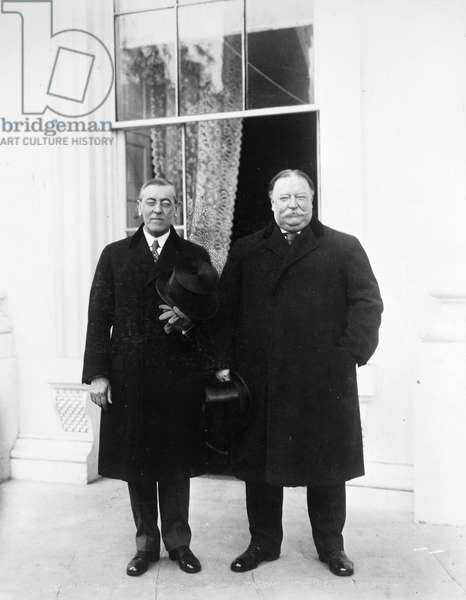 WILSON & TAFT, 1913 President-elect Woodrow Wilson and out-going President William Howard Taft at the White House, Washington, D.C., on Inauguration Day, 4 March 1913.
