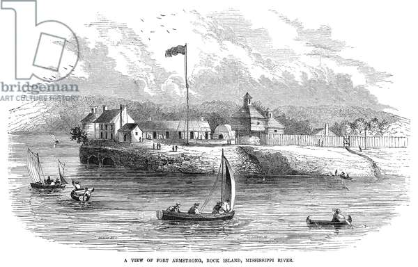 ILLINOIS: ROCK ISLAND, 1853 View of Fort Armstrong on the Mississippi River at Rock Island, Illinois. Wood engraving, American, 1853.
