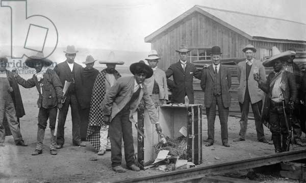 PROHIBITION, 1910s Destroying native Mexican whiskey at the Pearson Company headquarters in Chihuahua, Mexico, 1910-1915.
