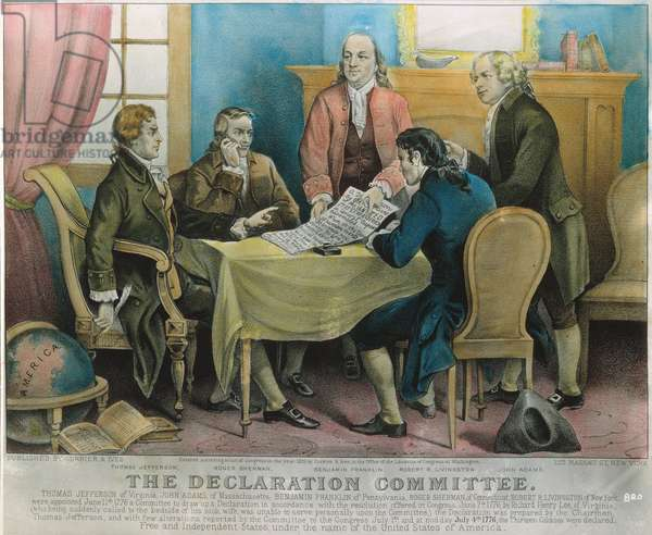 DECLARATION COMMITTEE The Declaration of Independence Committee, 1776. Left-to-right: Thomas Jefferson, Roger Sherman, Benjamin Franklin, Robert R. Livingston, and John Adams. Lithograph by Currier & Ives, 1876.
