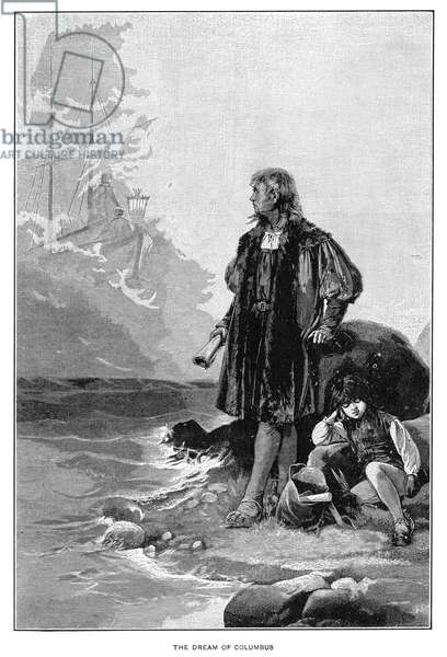 CHRISTOPHER COLUMBUS (1451-1506). Italian navigator. Columbus dreams of his ship and completing voyages across the Atlantic Ocean. Engraving, c.1900.